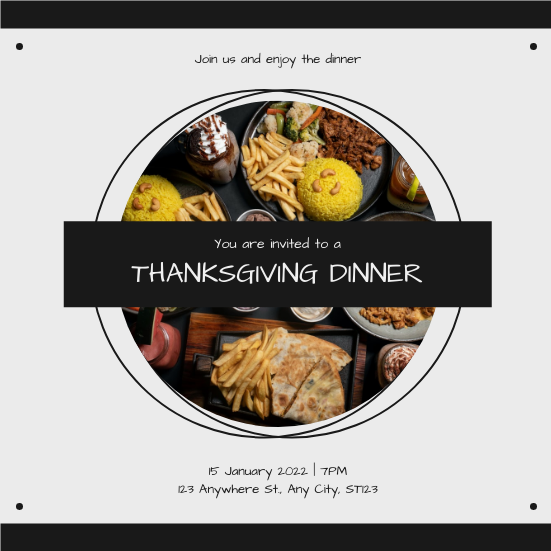 Invitation template: Black And White Circle Photo Thanksgiving Dinner Invitation (Created by InfoART's Invitation maker)