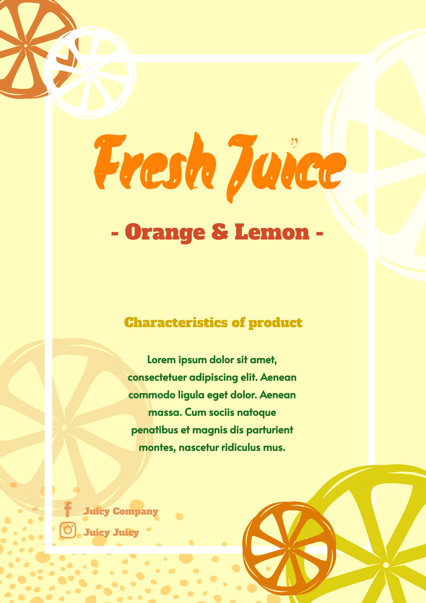 Poster template: New Juice Poster (Created by InfoART's Poster maker)