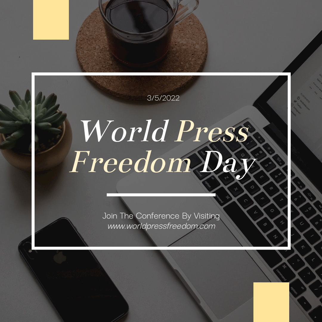 Instagram Post template: Yellow Computer Photo World Press Freedom Day Instagram Post (Created by InfoART's Instagram Post maker)