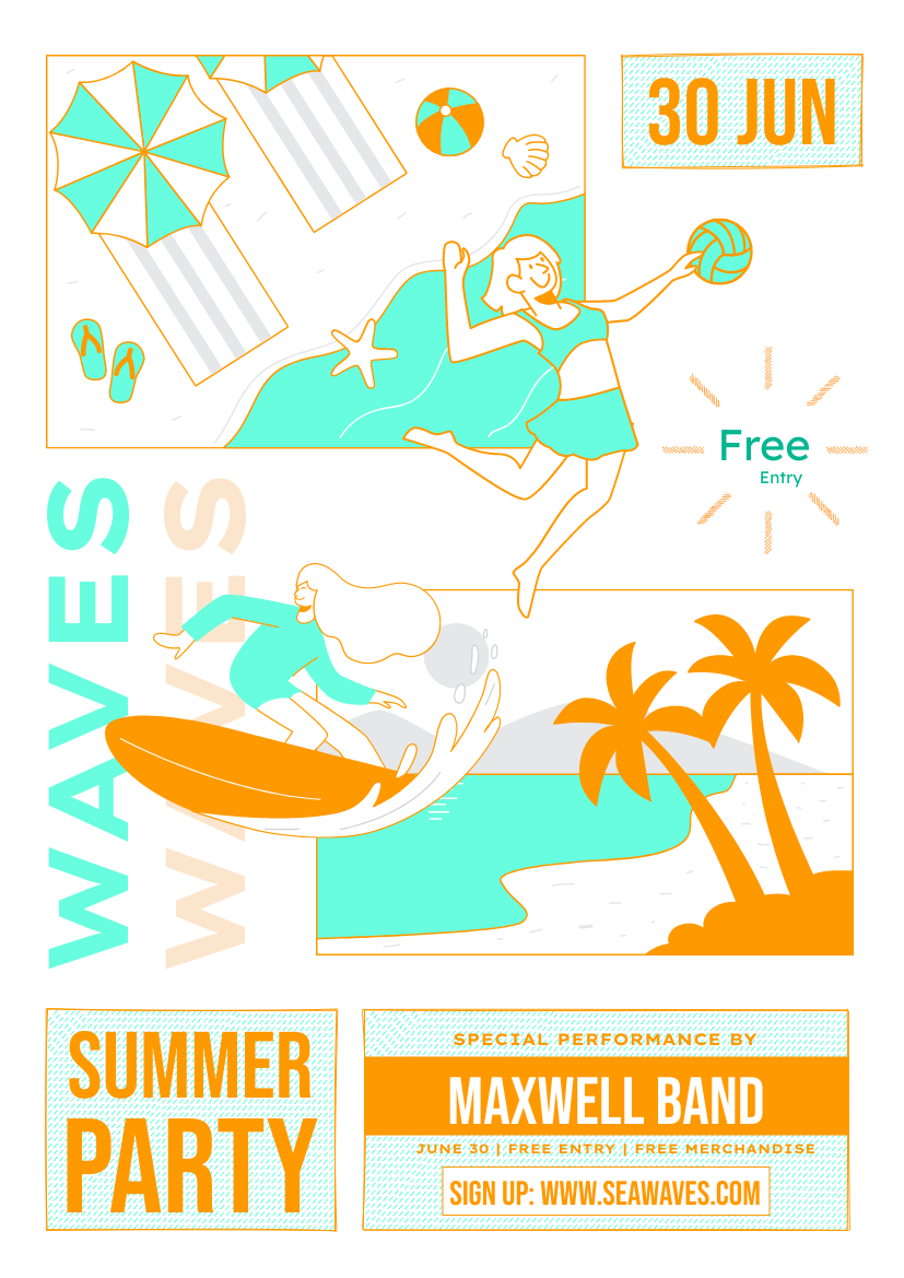 Flyer template: Summer Beach Party Promote Flyer (Created by InfoART's Flyer maker)