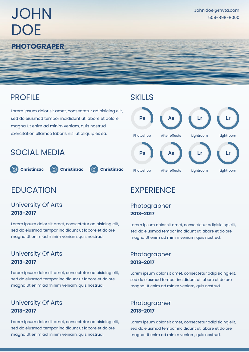 Resume template: Blue Sea Resume (Created by InfoART's Resume maker)