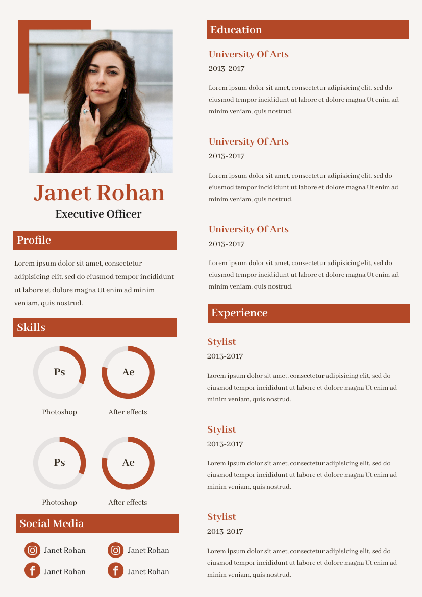 Resume template: Classic Red Resume (Created by InfoART's Resume maker)
