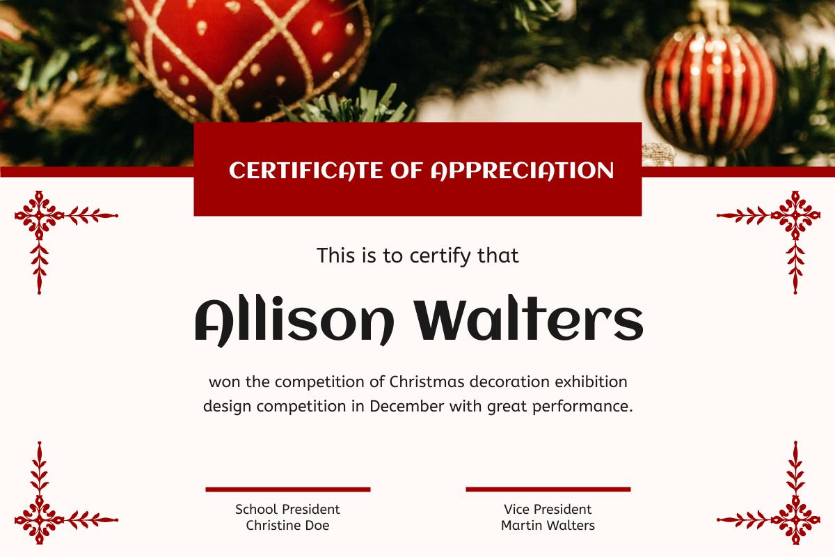 Certificate template: Red Elegant Christmas Celebration Certificate (Created by InfoART's Certificate maker)