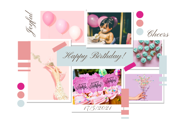 Greeting Card template: Pink Birthday  Collage Greeting Card (Created by Collage's Greeting Card maker)