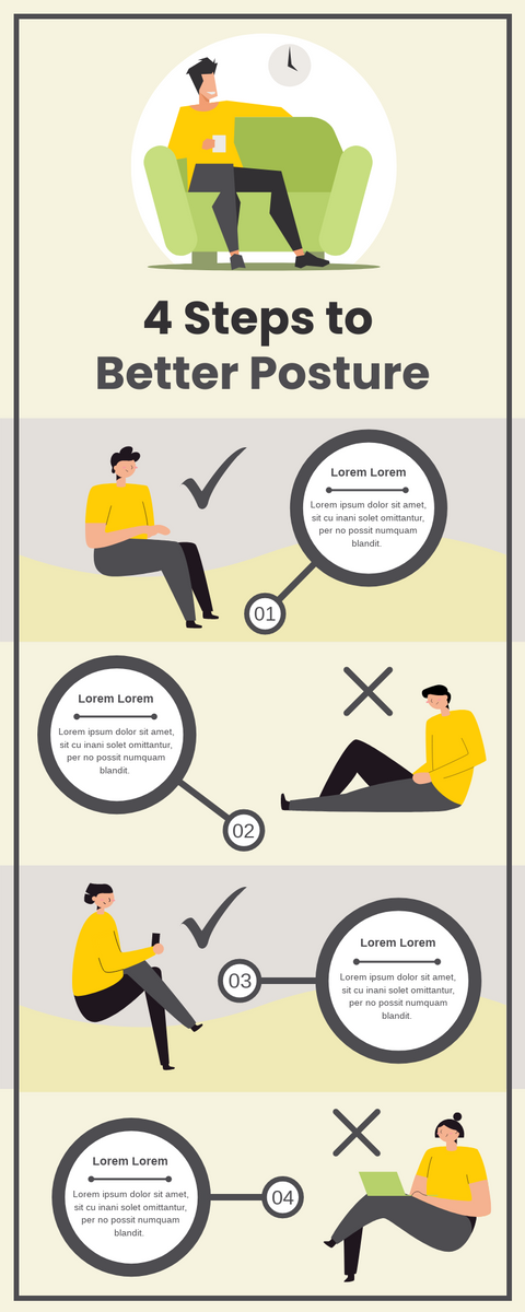 Infographic template: 4 Steps For Better Posture Infographic (Created by InfoART's Infographic maker)