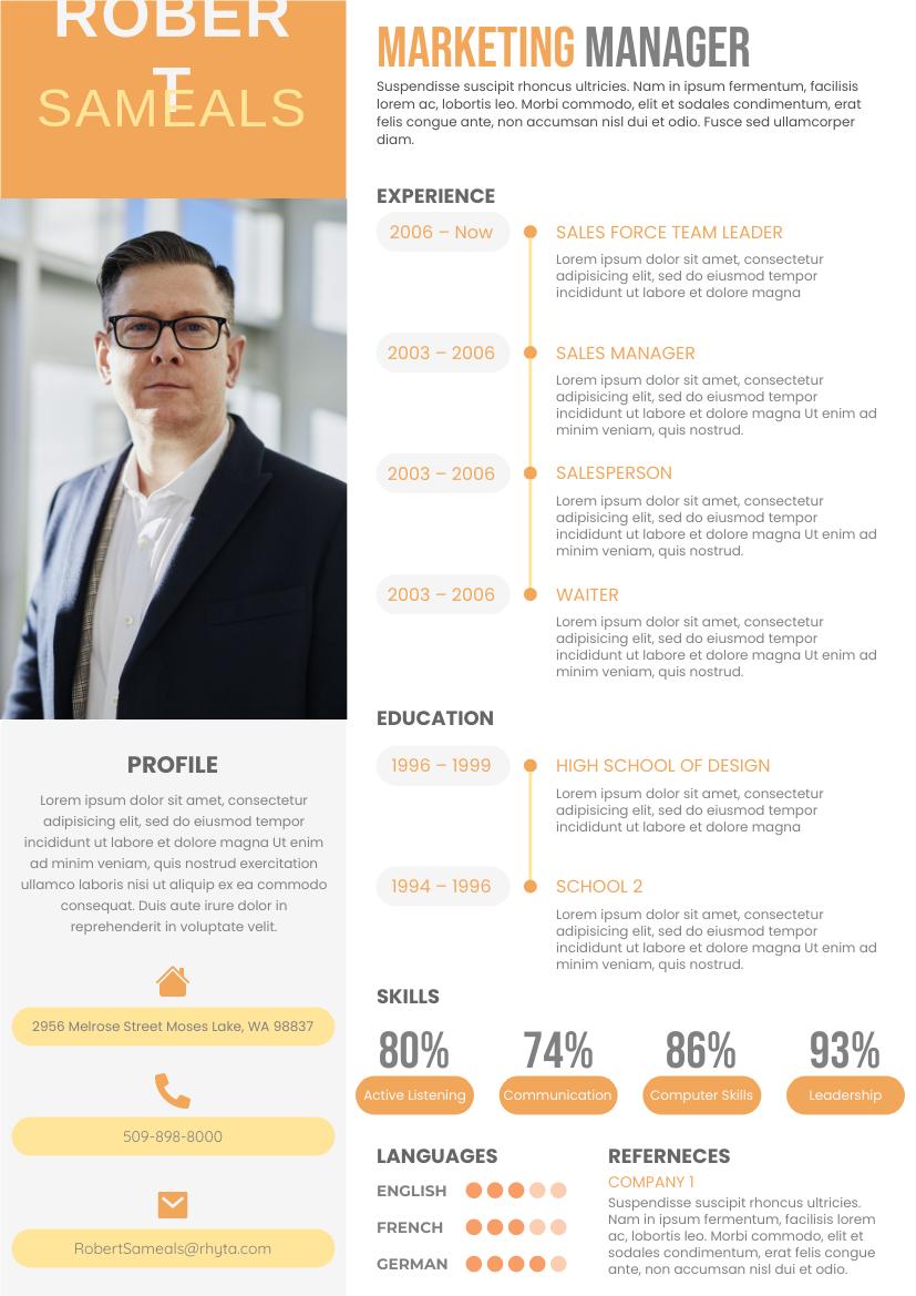 Resume template: 2 Columns Percentage Resume (Created by InfoART's Resume maker)