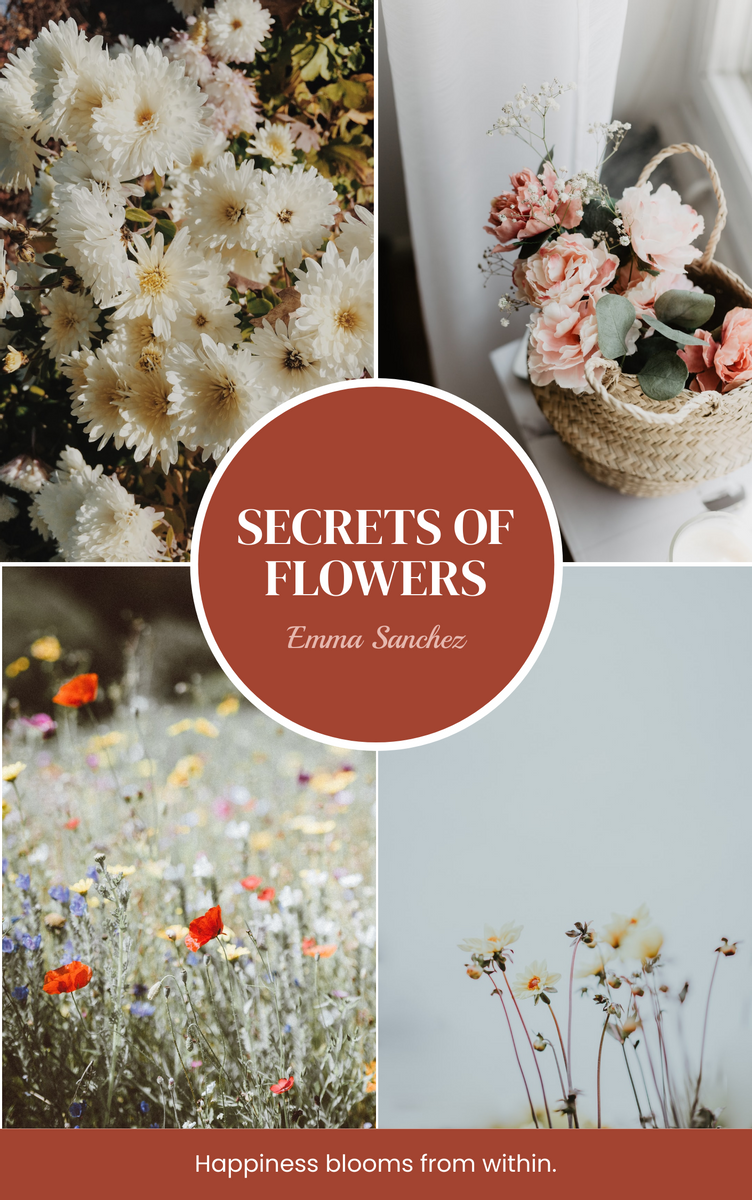 Book Cover template: Secrets Of Flowers Book Cover (Created by InfoART's Book Cover maker)