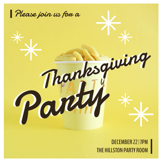 Invitation template: Vibrant Yellow Thanksgiving Party Invitation (Created by InfoART's Invitation maker)