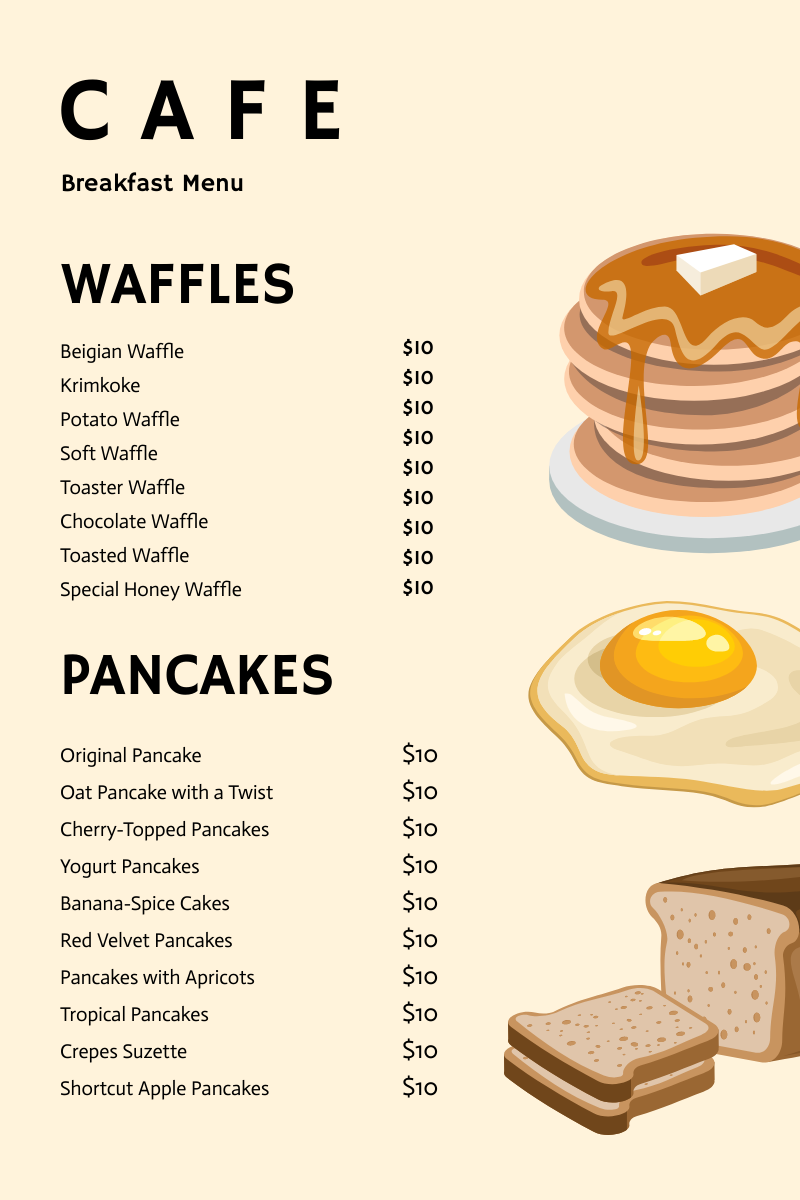 Menu template: Breakfast Cafe Menu (Created by InfoART's Menu maker)