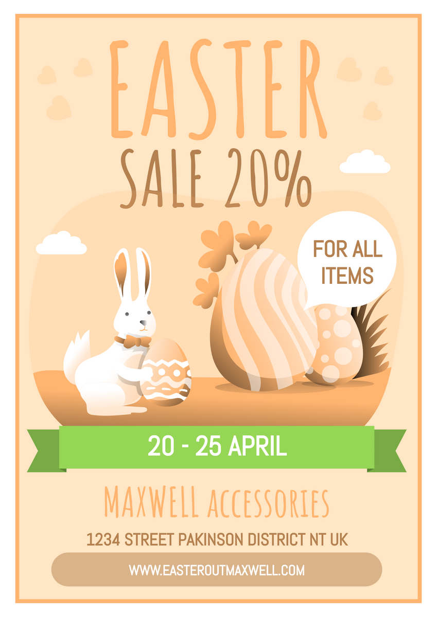 Poster template: Vintage Bunny Sales Poster (Created by InfoART's Poster maker)