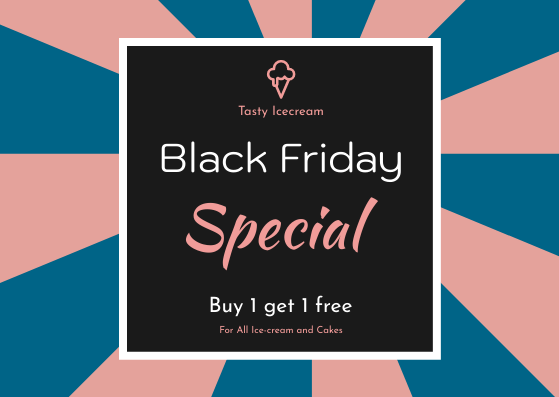 Gift Card template: Pink And Blue Black Friday Specials Gift Card (Created by InfoART's Gift Card maker)