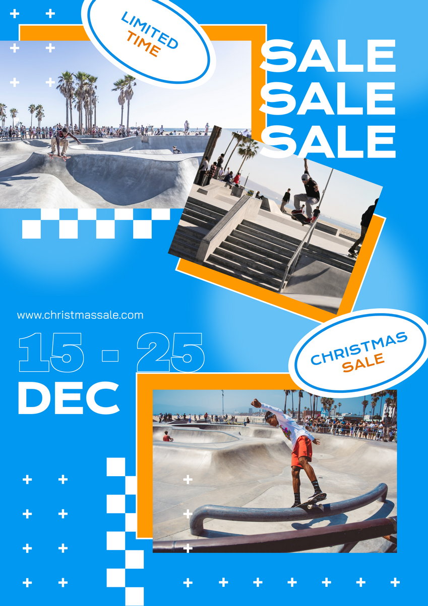 Poster template: Trendy Blue Skates Photos Christmas Sale Poster (Created by InfoART's Poster maker)