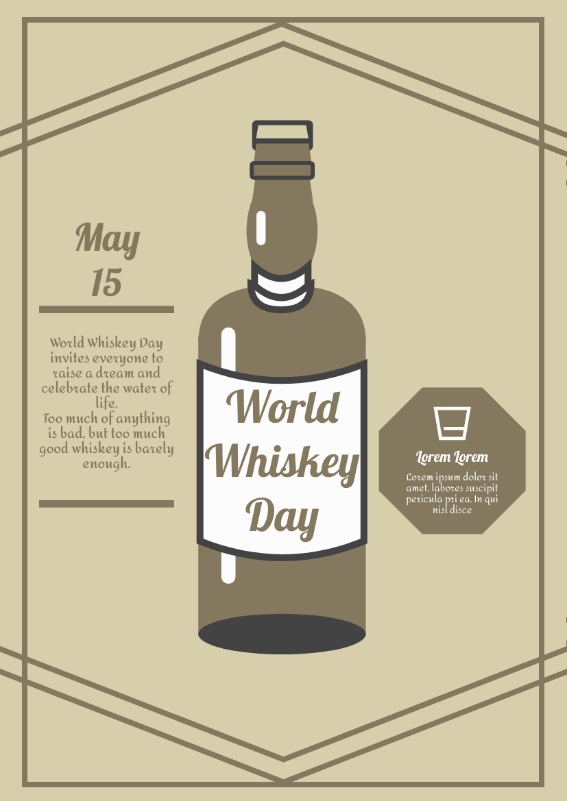 Flyer template: Vintage Whiskey Day Graphic Design Flyer (Created by InfoART's Flyer maker)