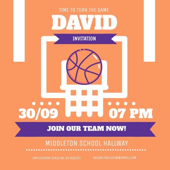 Invitation template: Basketball Team Invitation (Created by InfoART's Invitation maker)