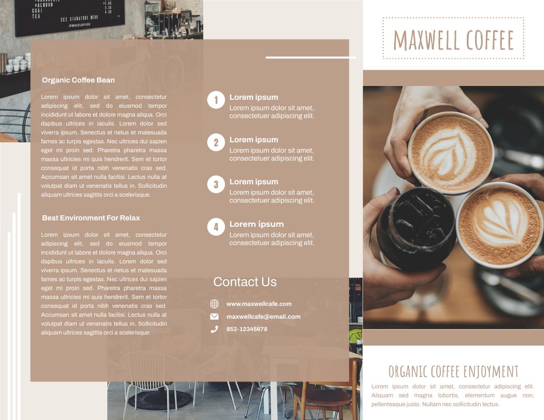 Brochure template: Organic Coffee Intro Business Brochure (Created by InfoART's Brochure maker)