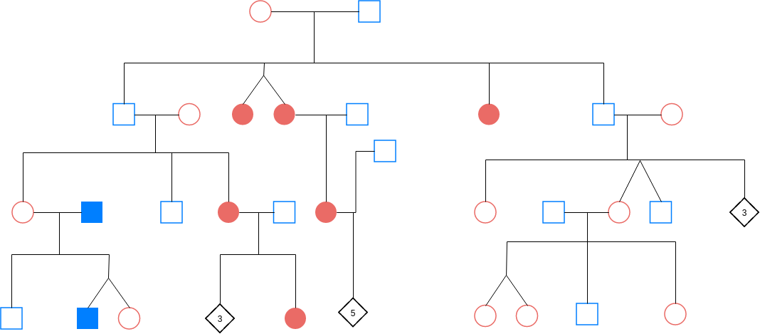 Pedigree Chart template: Pedigree Chart Example 1 (Created by Diagrams's Pedigree Chart maker)