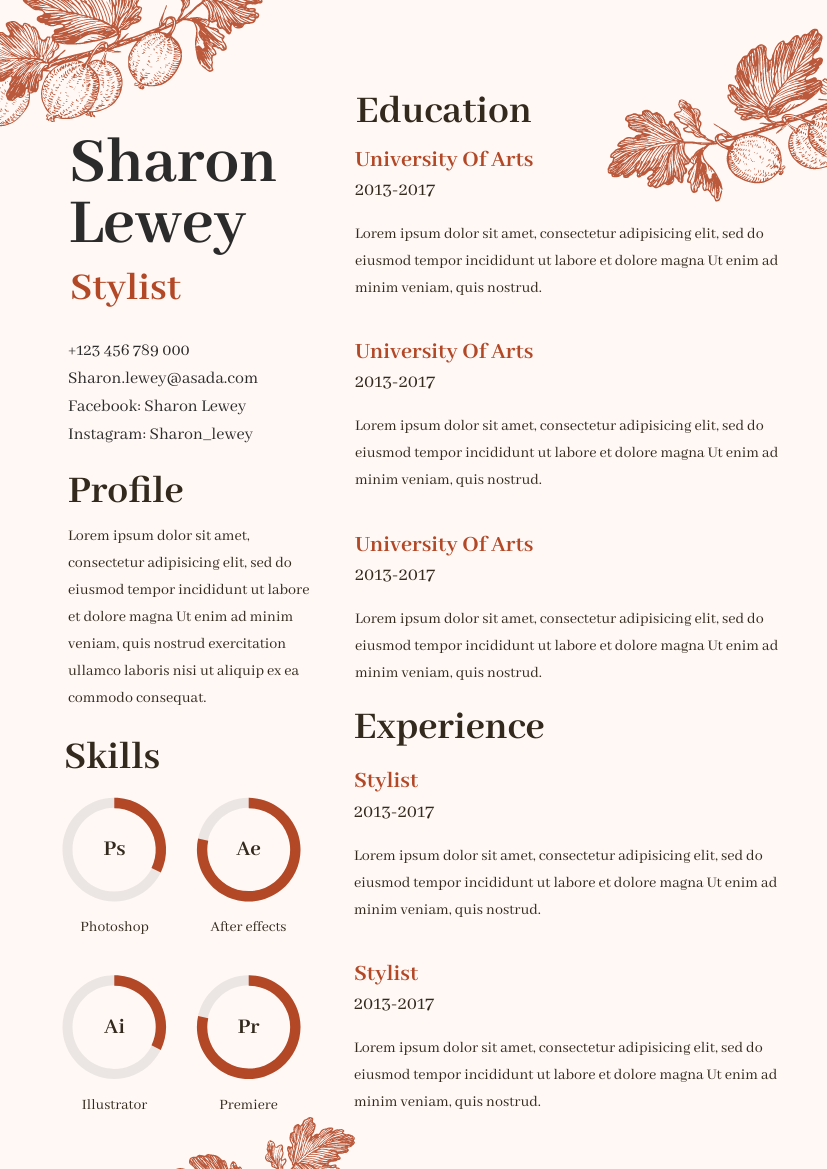 Resume template: Floral Resume (Created by InfoART's Resume maker)