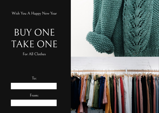 Gift Card template: Black Shopping Photo New Year Sale Gift Card (Created by InfoART's Gift Card maker)