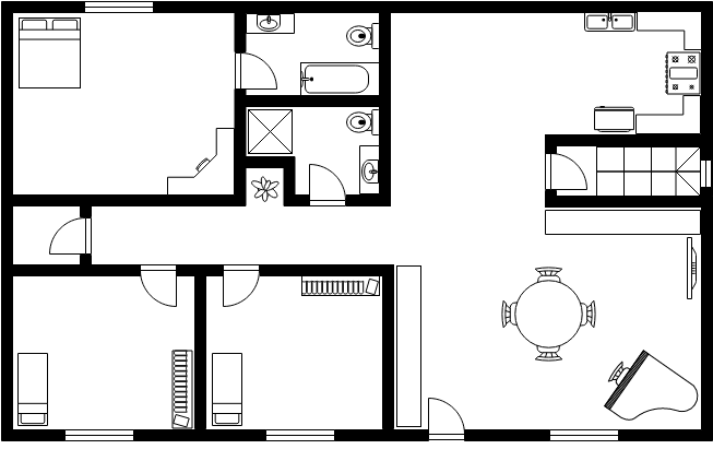 Simlpe House Design Floor Plan Template