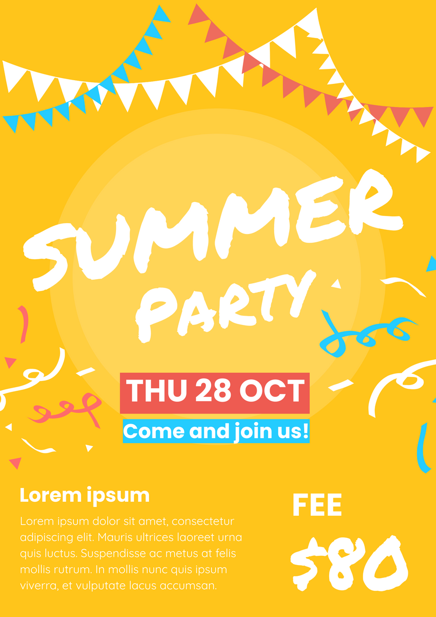 Poster template: Summer Party (Created by InfoART's Poster marker)