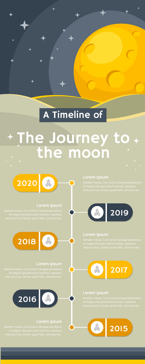 Infographic template: Journey To The Moon Infographic (Created by InfoART's Infographic maker)