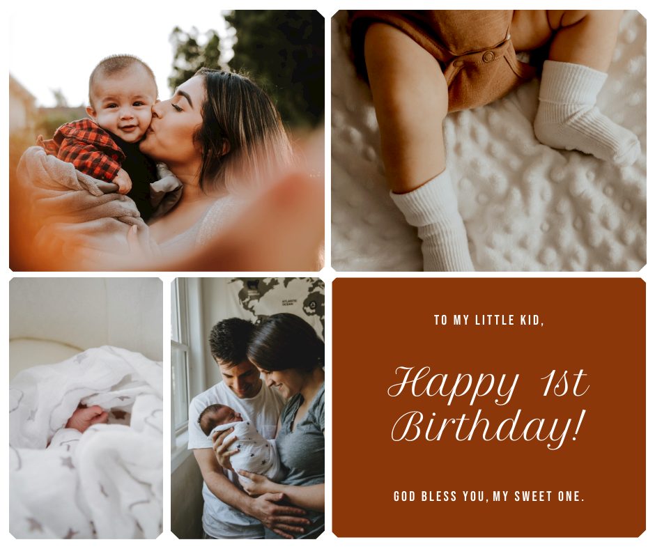 Facebook Post template: Family Photo Grid 1st Baby Birthday Facebook Post (Created by InfoART's Facebook Post maker)