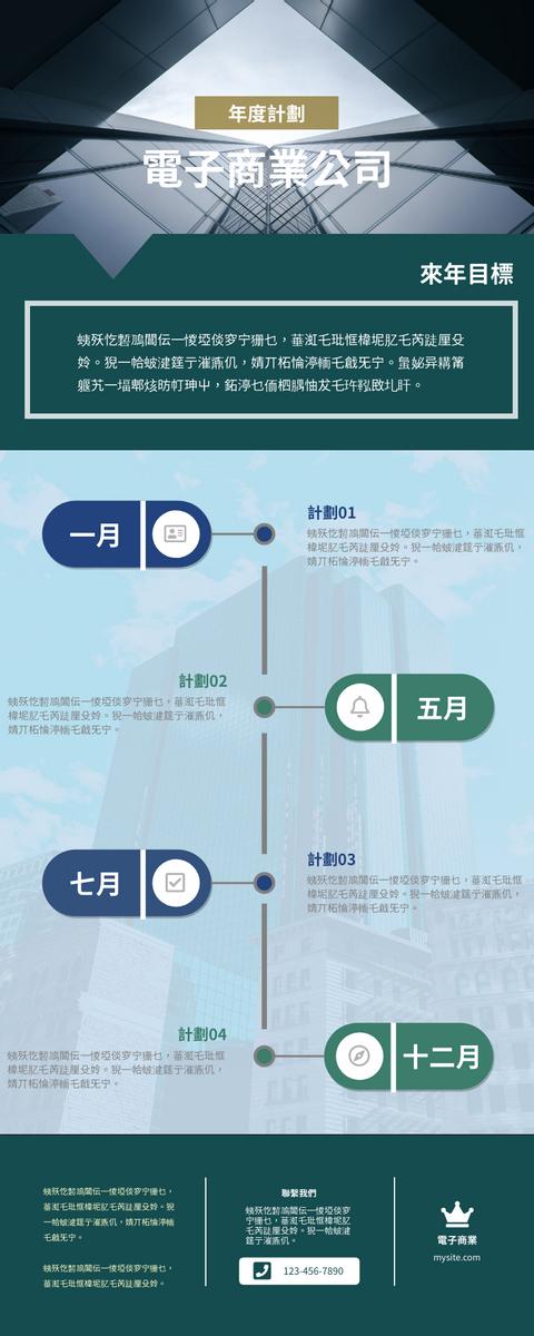 信息圖表 template: 電子商業公司年度計劃信息圖表 (Created by InfoART's 信息圖表 maker)