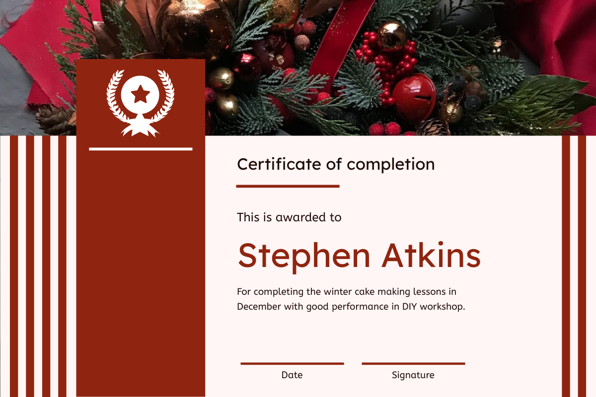 Certificate template: Red Stripes Christmas Decorations Certificate (Created by InfoART's Certificate maker)