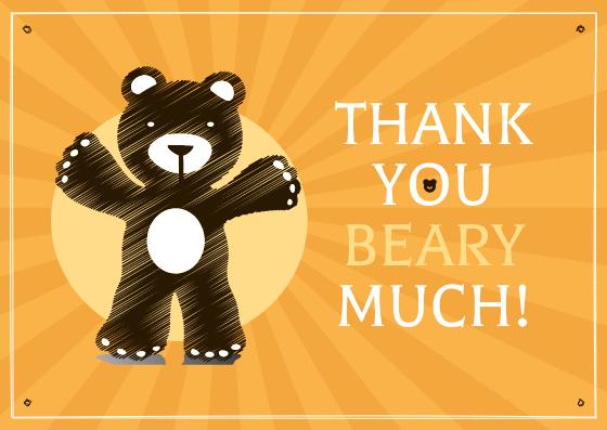 Postcard template: Cute Teddy Bear Illustrations Thank You Card (Created by InfoART's Postcard maker)