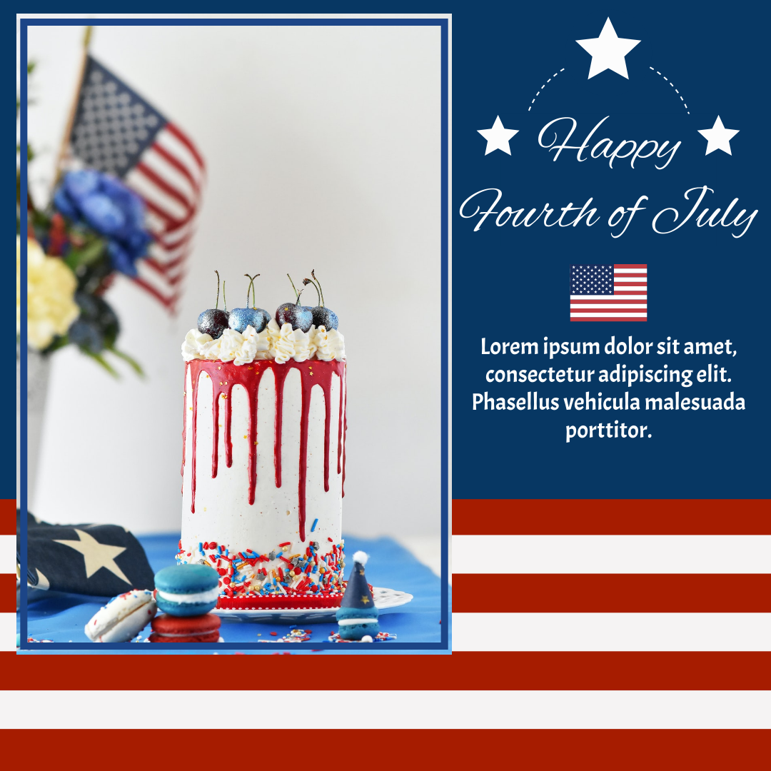 Instagram Post template: Cake Photo Happy Fourth of July Instagram Post (Created by InfoART's Instagram Post maker)