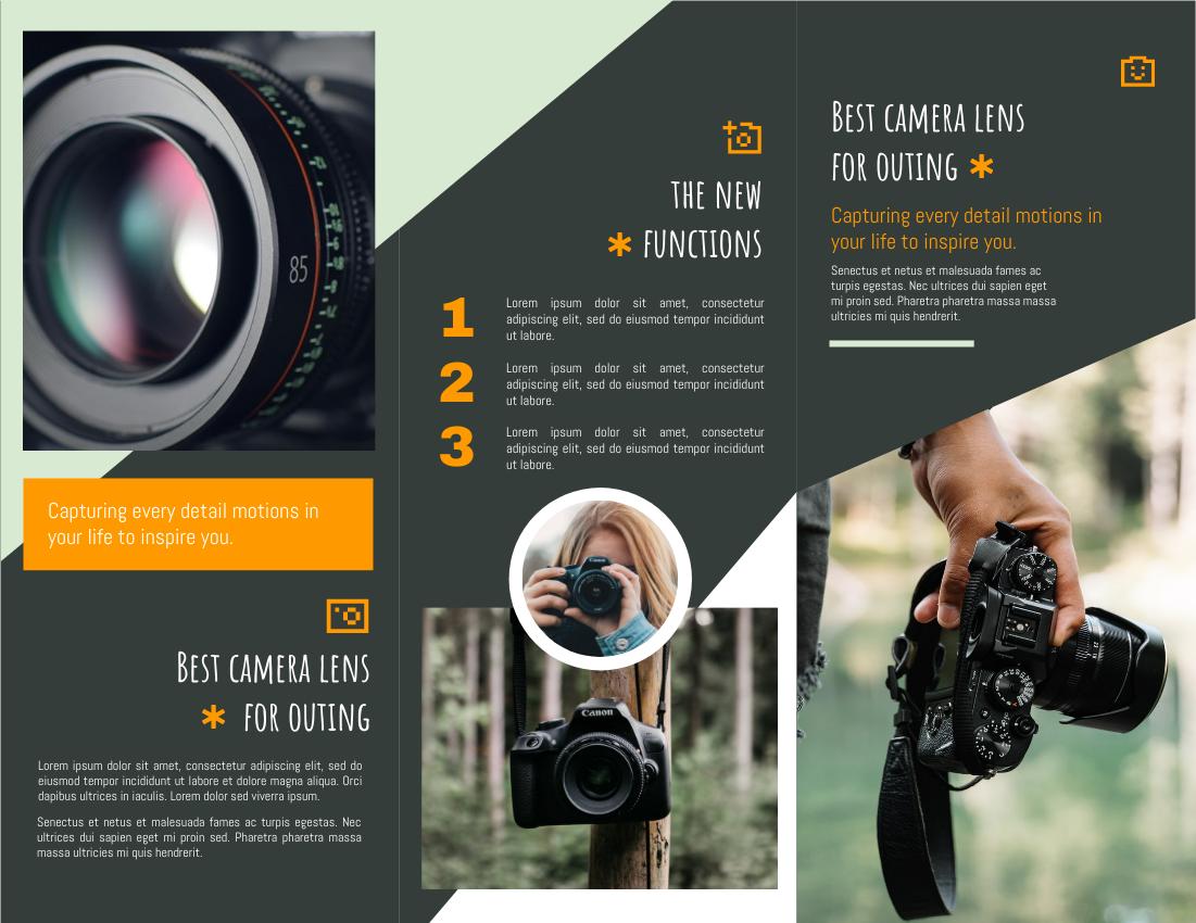 Brochure template: Outing Camera Lens Promote Brochure (Created by InfoART's Brochure maker)