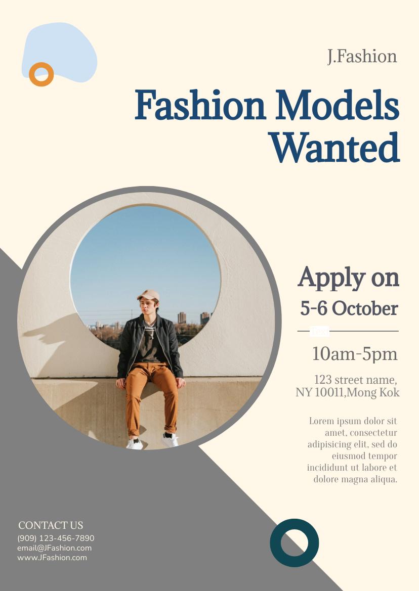 Flyer template: Fashion Models Flyer (Created by InfoART's Flyer maker)