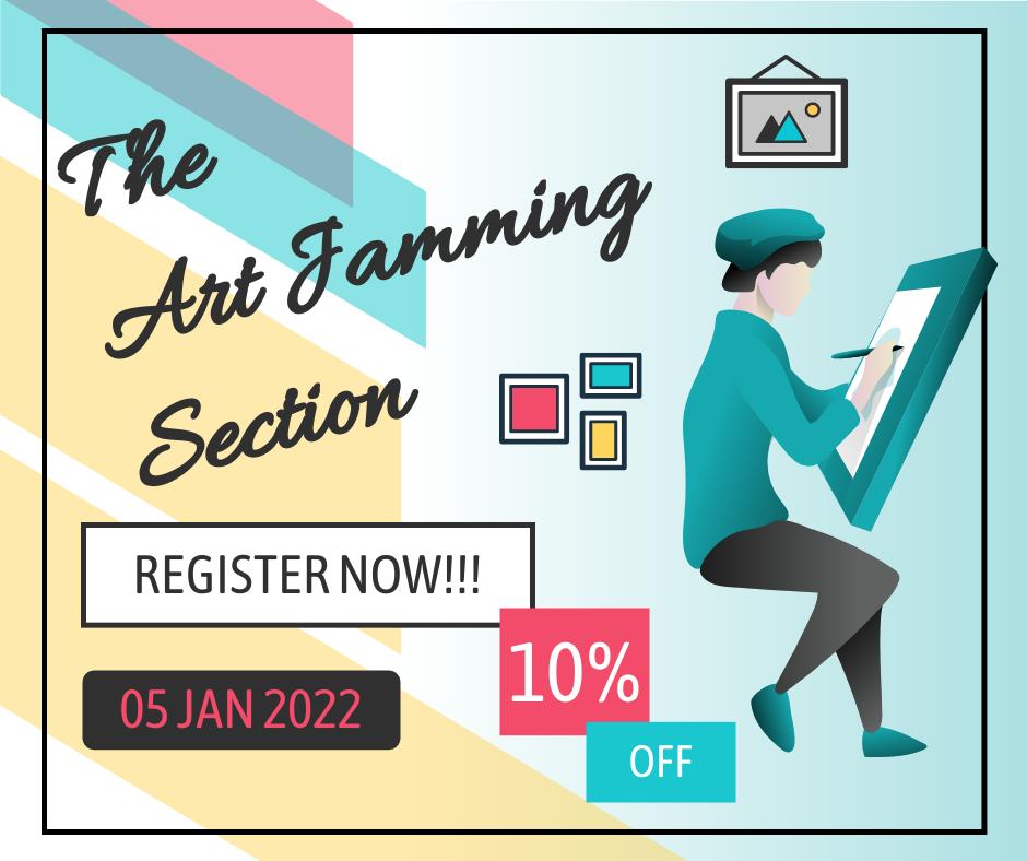 Facebook Post template: Art Jamming Registration Facebook Post (Created by InfoART's Facebook Post maker)