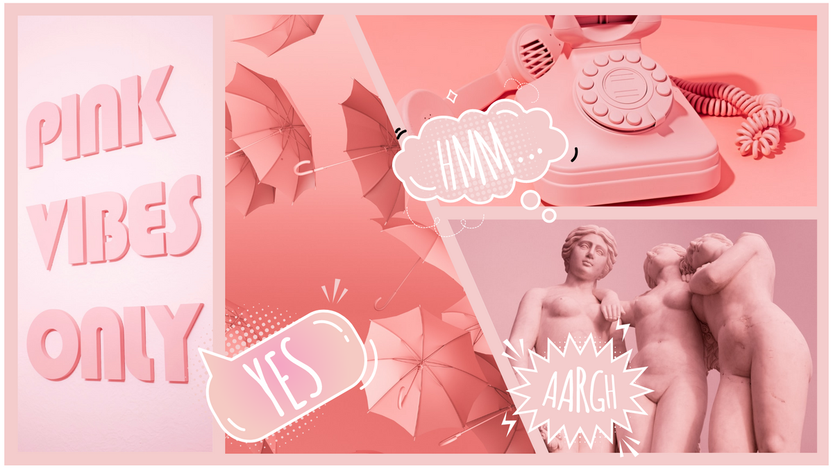 Comic Strip template: Pink Vibes Comic Strip (Created by Collage's Comic Strip maker)