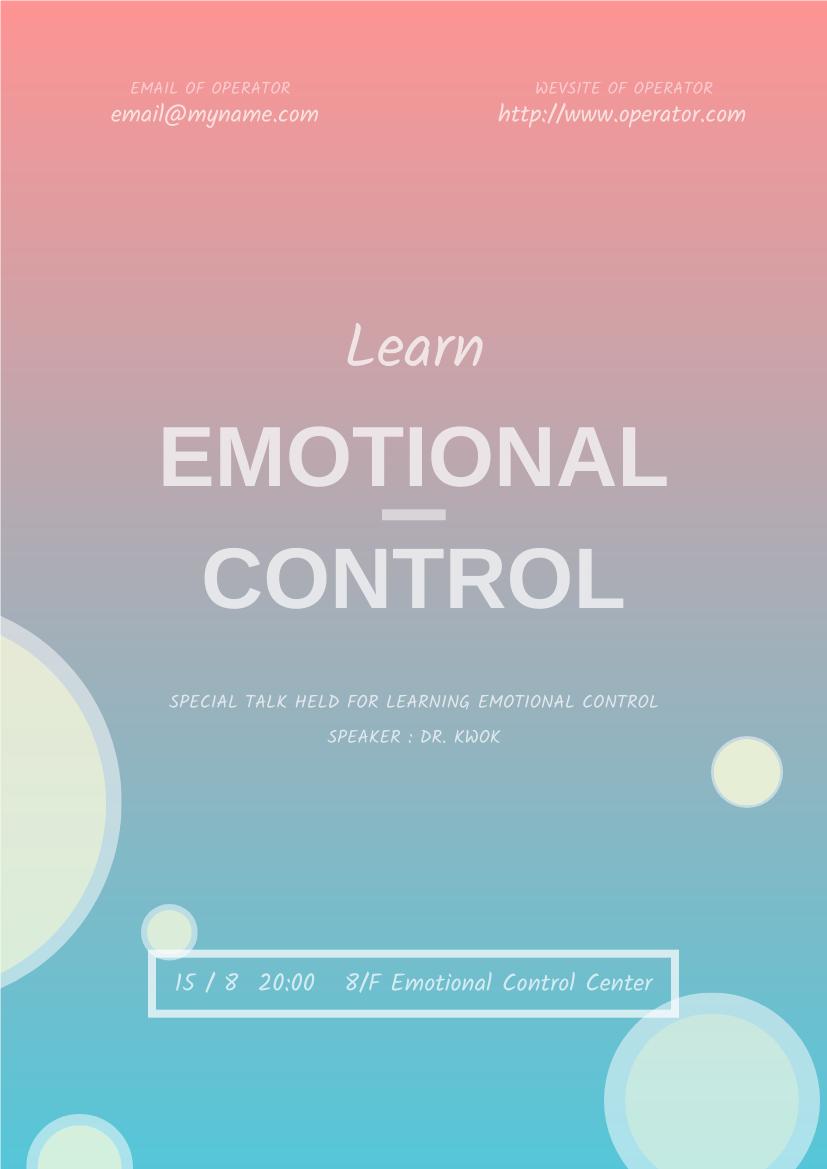 Flyer template: Emotional Control Talk Flyer (Created by InfoART's Flyer maker)
