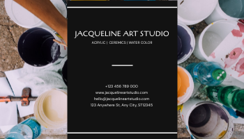 Business Card template: Black Painting Photo Art Studio Business Card (Created by InfoART's Business Card maker)