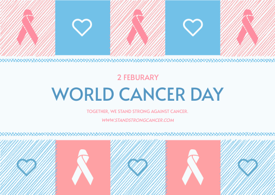 Postcard template: Pastel Pink And Blue World Cancer Day Postcard (Created by InfoART's Postcard maker)
