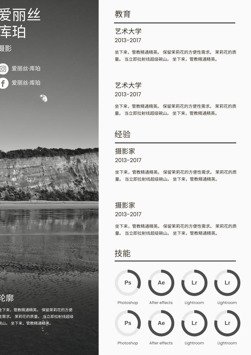 履历表 template: 山景简历 (Created by InfoART's 履历表 maker)