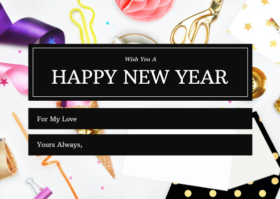 Gift Card template: Pink Gold Celebration Photo New Year Gift Card (Created by InfoART's Gift Card maker)