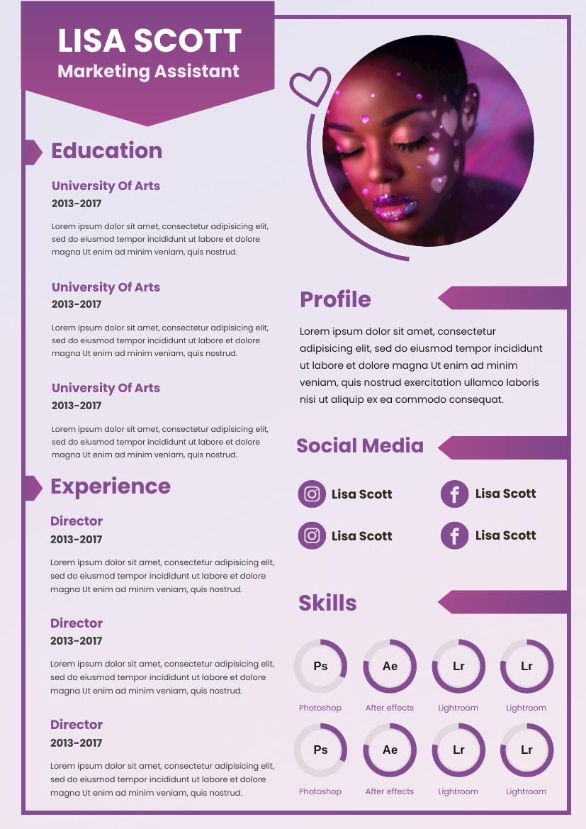Resume template: Purple Gradient Resume (Created by InfoART's Resume maker)