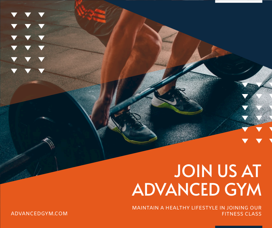 Facebook Post template: Blue And Orange Gym Photo Fitness Centre Facebook Post (Created by InfoART's Facebook Post maker)