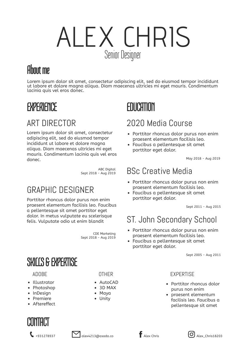 Resume template: Simple Resume (Created by InfoART's Resume maker)