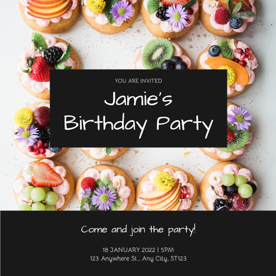 Invitation template: Black Cakes Photo Birthday Party Invitation (Created by InfoART's Invitation maker)