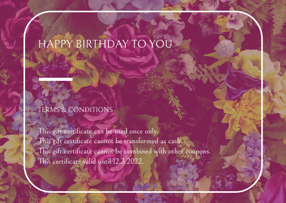 Gift Card template: Pink Floral Background Birthday Gift Card (Created by InfoART's Gift Card maker)