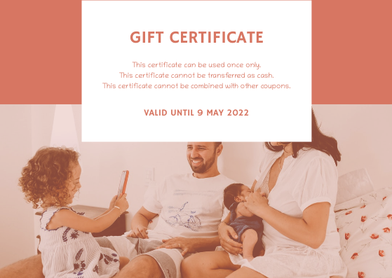 Gift Card template: Pink Family Photo Mother's Day Gift Card (Created by InfoART's Gift Card maker)