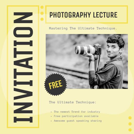 Invitation template: Photography Workshop Invitation (Created by InfoART's Invitation maker)