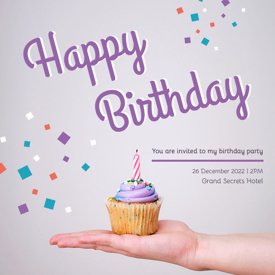 Invitation template: Pastel Purple Happy Birthday Party Invitation (Created by InfoART's Invitation marker)