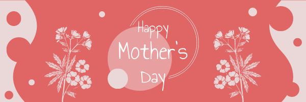 Email Header template: Red Floral Mother's Day Email Header With Circular Decorations (Created by InfoART's Email Header maker)