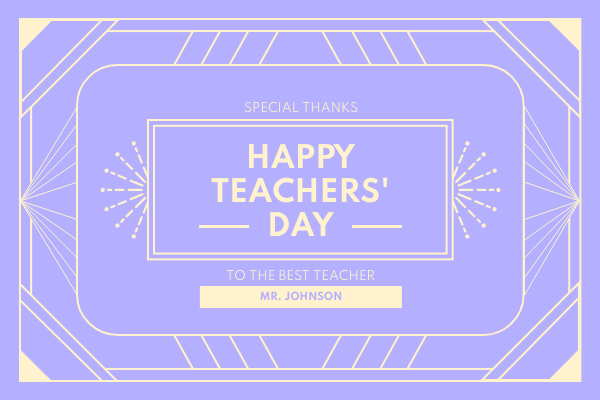 Greeting Card template: Vintage Teacher's Day Greeting Card (Created by InfoART's Greeting Card maker)