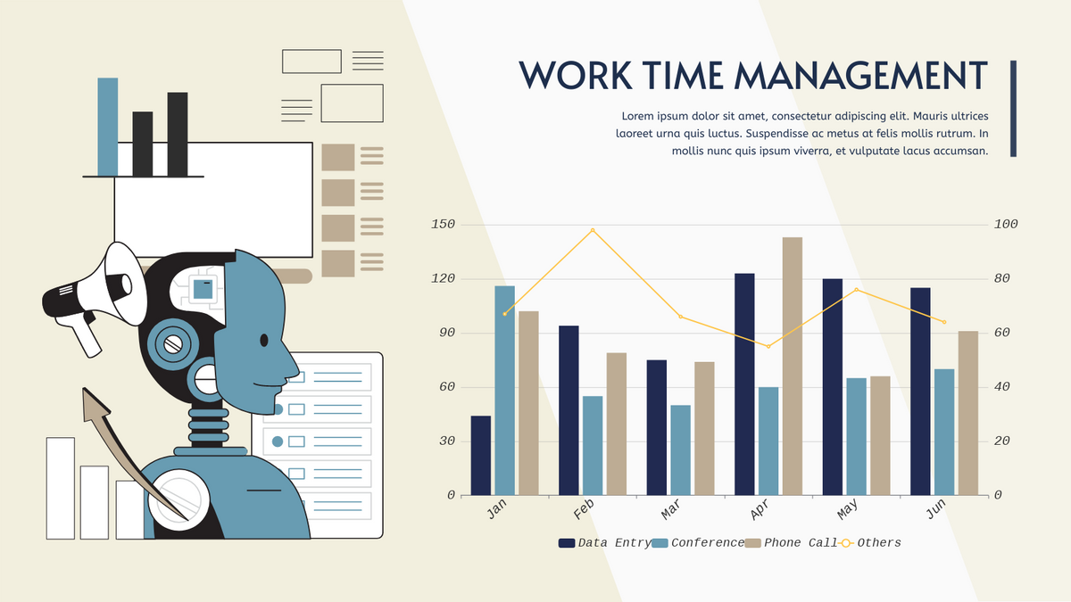 Grouped Column and Line Chart template: Work Time Management Grouped Column and Line Chart (Created by Chart's Grouped Column and Line Chart maker)